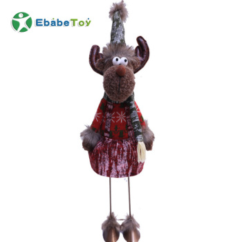 Custom Popular Handmade Cartoon moose plush toys standing large reindeer doll Christmas ornament with Iron Legs gifts