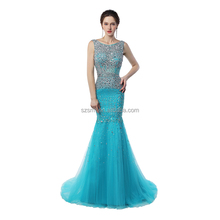 Sparkly Mermaid Party Prom Dress Floor Length Backless Sexy Zipper Beading Sequins Sleeveless Tulle Evening Dress