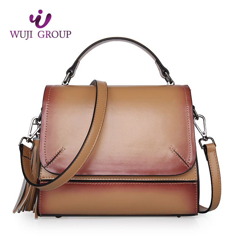 Custom Top Grain Leather Neutral Lady Crossbody Messenger Hand Bag