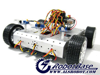 4WD White Mobile Robot Kit with Light Tracking System Educational Robot Electronic Robot Tracked
