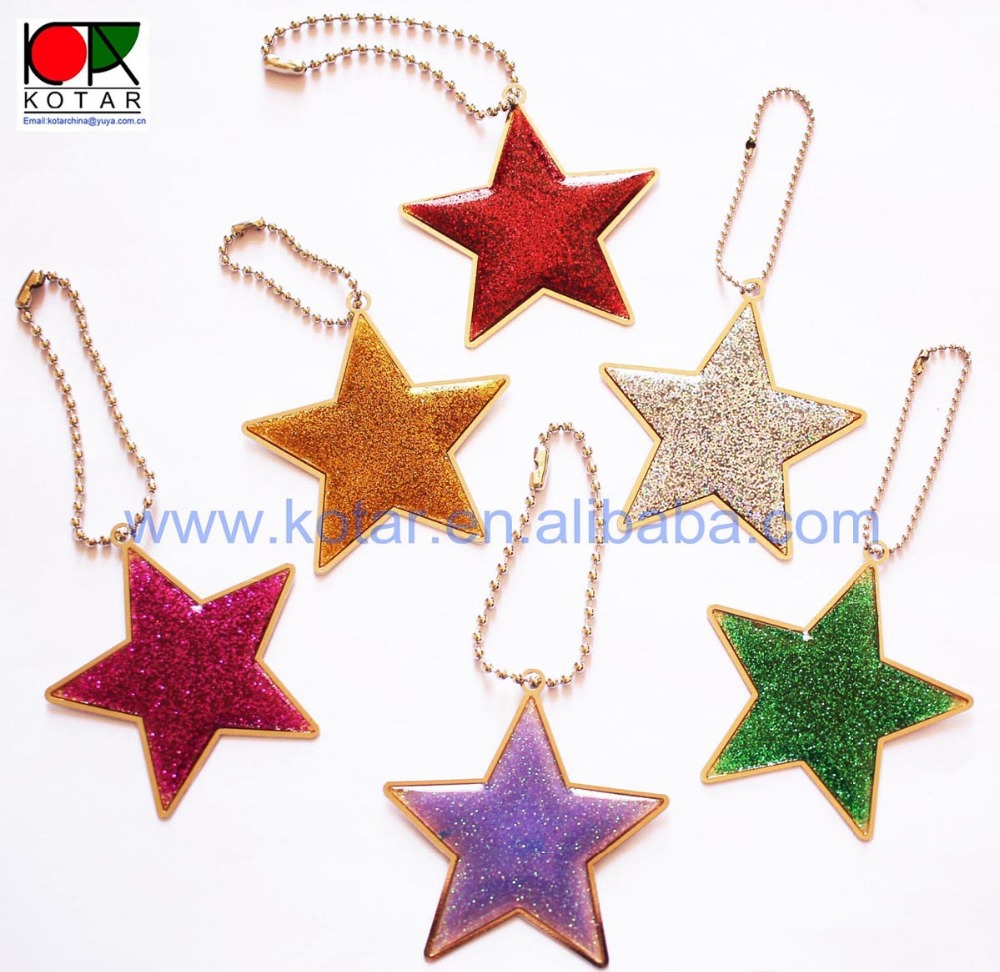 Wholesale and retail star shaped glitter christmas decoration bag pendant