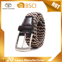 Colorful Customized Mens Elastic Cotton Woven Rope Braid Belts For men