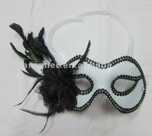 White masquerade mask with flower+feathers,Halloween masquerade mask