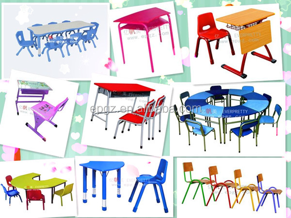 Double chairs children table set, Wooden Children table and chairs, Fixed Children Furniture