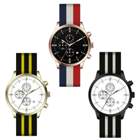 Nylon nato band men women custom wrist watches fashion with different plating colors case