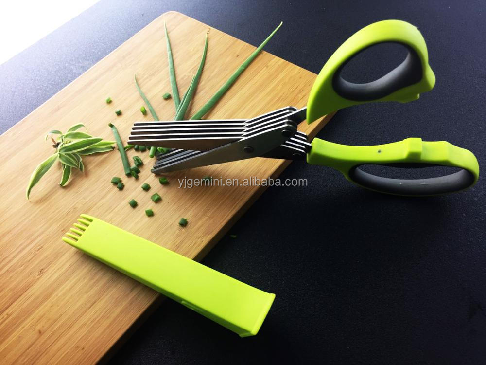 Multi Used Kitchen Scissors Stainless Steel Kitchen 5 Blade Herb Scissors