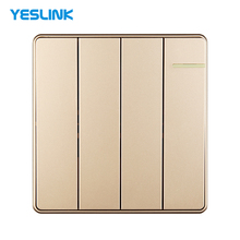 White And Golden European Style 4 Gang 1 Way Electric Wall Switch