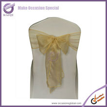 "3510 chamapgne cheap crystal organza chair sashes 8""*108""angled size, more 70 colors inventory"