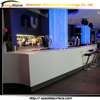 Custom straight shape artificial stone acrylic bar counter top