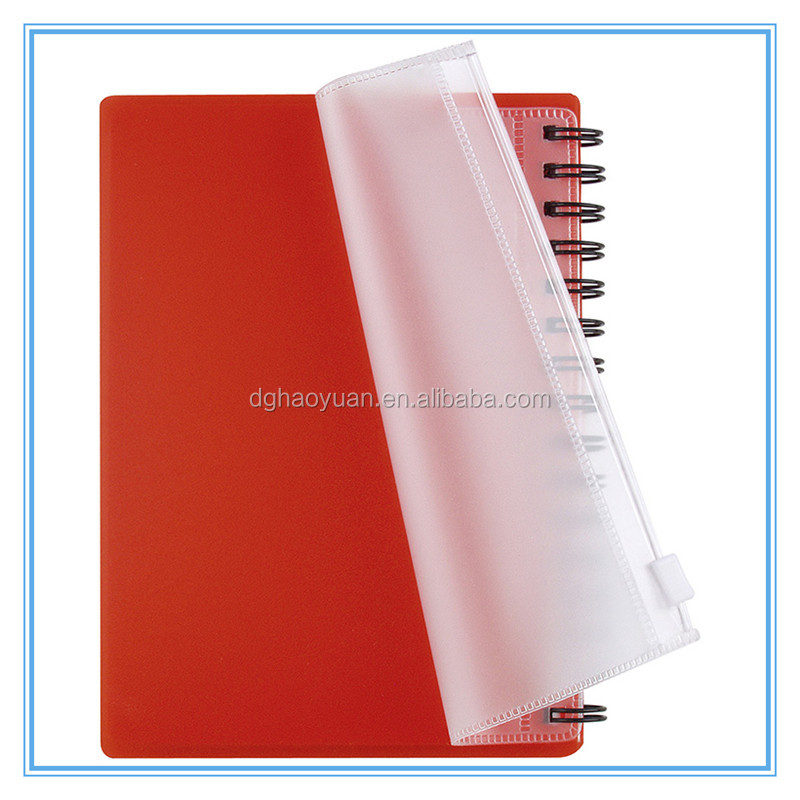 Spiral Notebook with Frosted PP Covers & PVC Zip Pocket