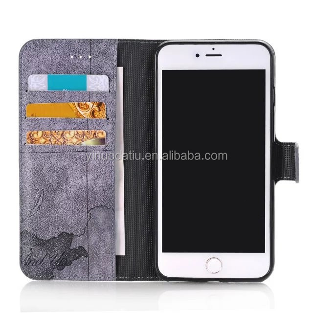 Leather Wallet Flip Phone Cover for iPhone 7 with Credit Card Holder