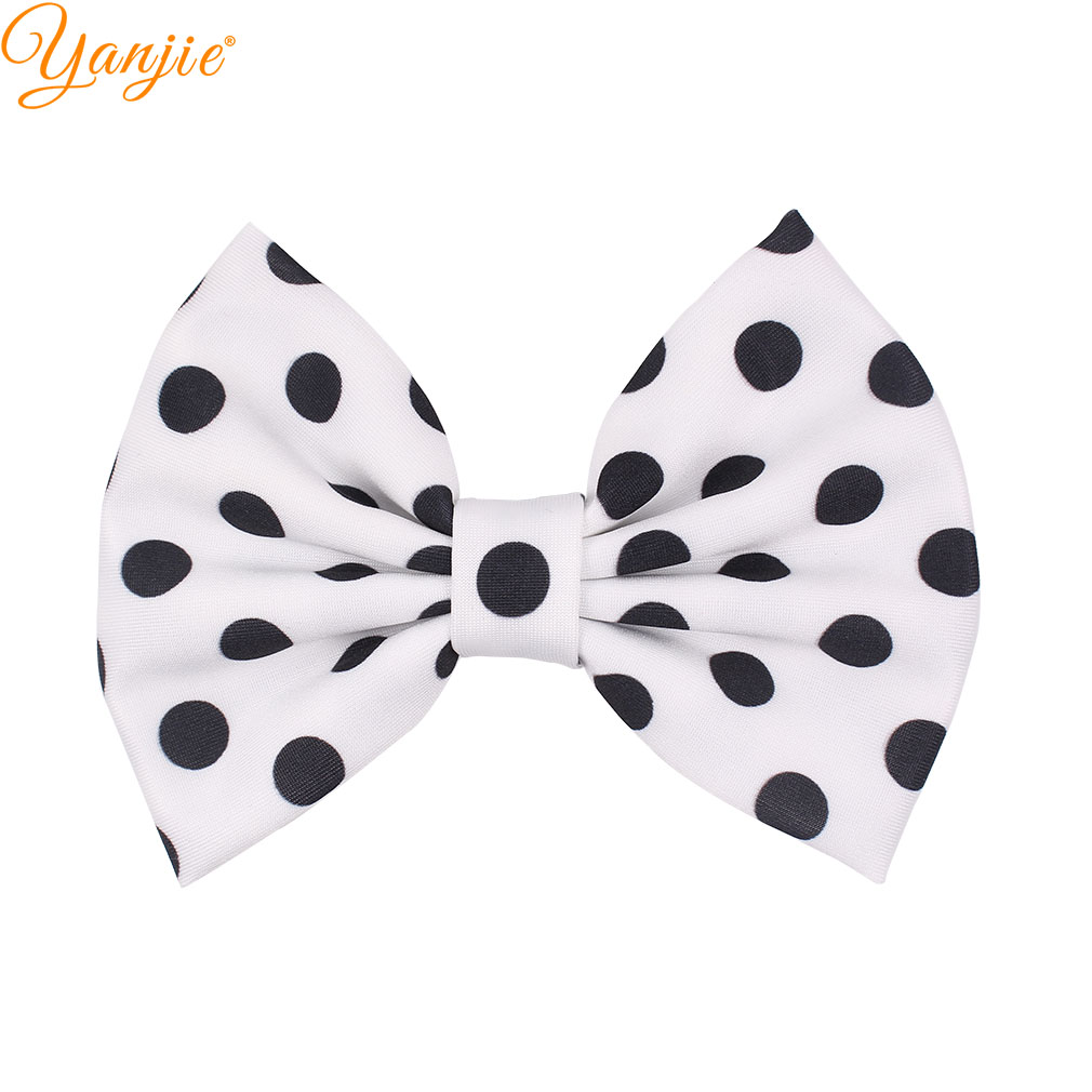"2019 Trendy Pink/Red 5"" Dot Fabric Hair Bow For Girl DIY Hair Accessories For Hair Clip Baby Headband Headwear For Barrette"