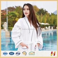 Custom High Quality Hotel Lightweight 100% Cotton Sleepwear Waffle Bathrobe