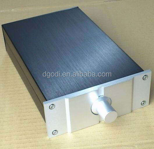 black anodized aluminium amplifier chassis and knob