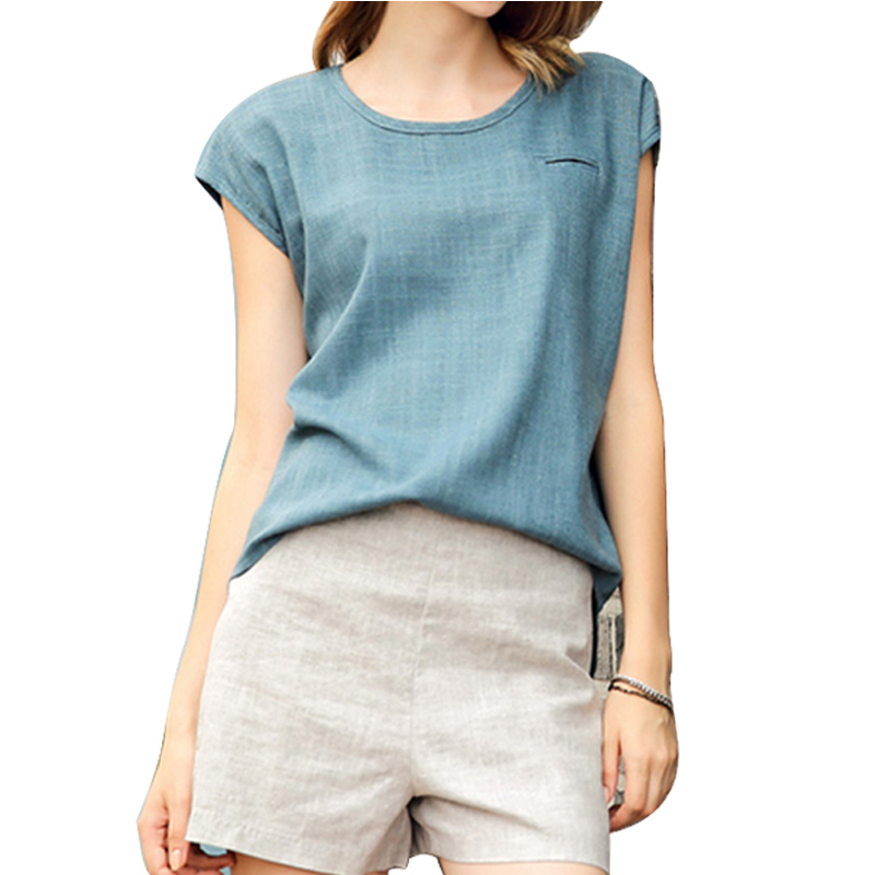 2015 Women Summer Clothing Set Solid Color Linen Casual Tops with Shorts Brand American Apparel Fashion O-neck Hot Sales ZMG0248