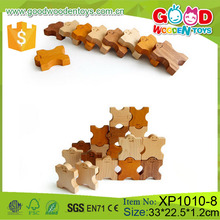 Lovely Stacking Wooden Domino Game, 30pcs Interlock Wooden Domino Set, Mini Figure Wooden Domino Blocks