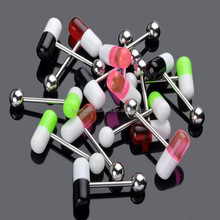 Wholesale pill capsule acrylic tongue ring body piercing jewelry