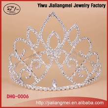 Fashion metal silver plating full crystal cheap tall pageant crown tiara