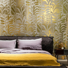 2017 high quality wooden veener gold leaf nature beautiful wallpaper for bedroom