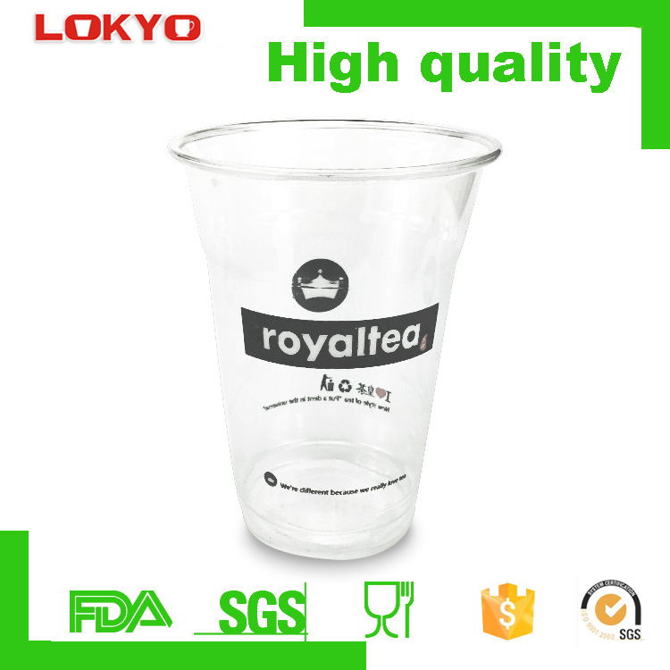 Custom made food grade material PET transparent disposable plastic cups drinking cup