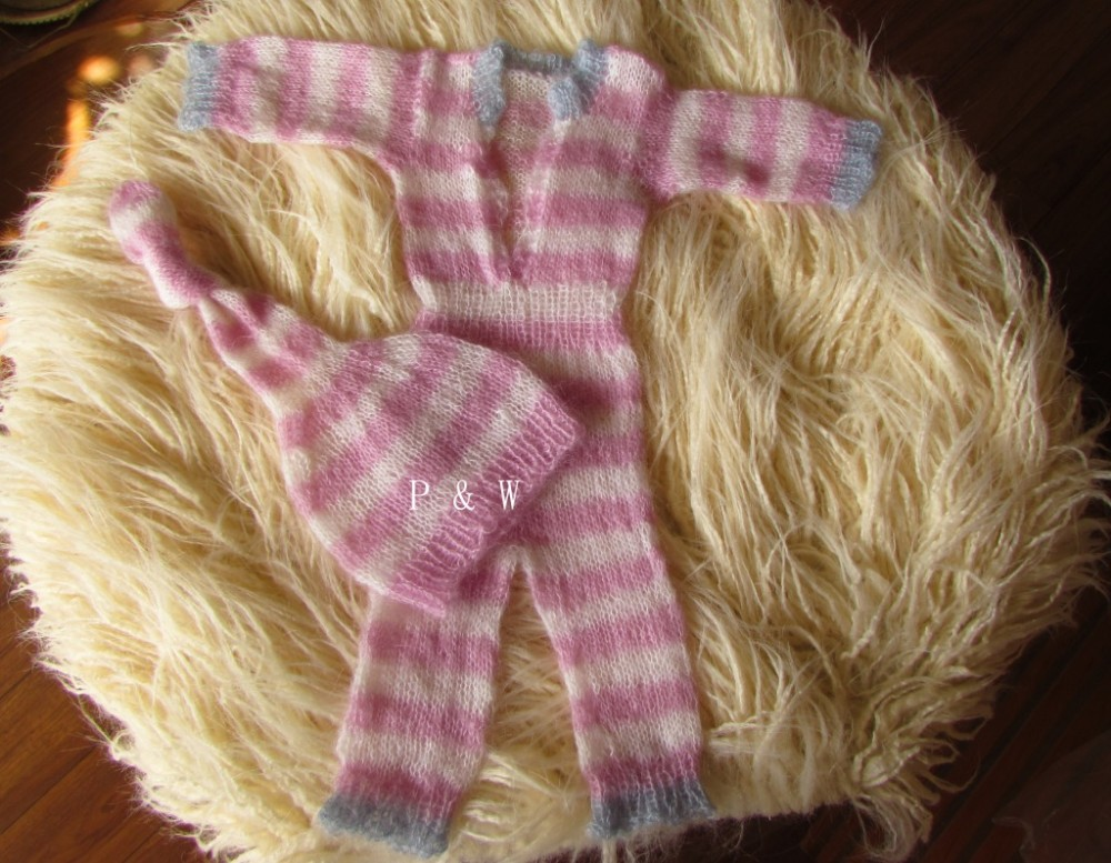 2016 New Style Newborn Baby Pants Prop Knitted Mohair Baby Jumpsuits Props Newborn Baby Props Crochet Baby Hat and Pants