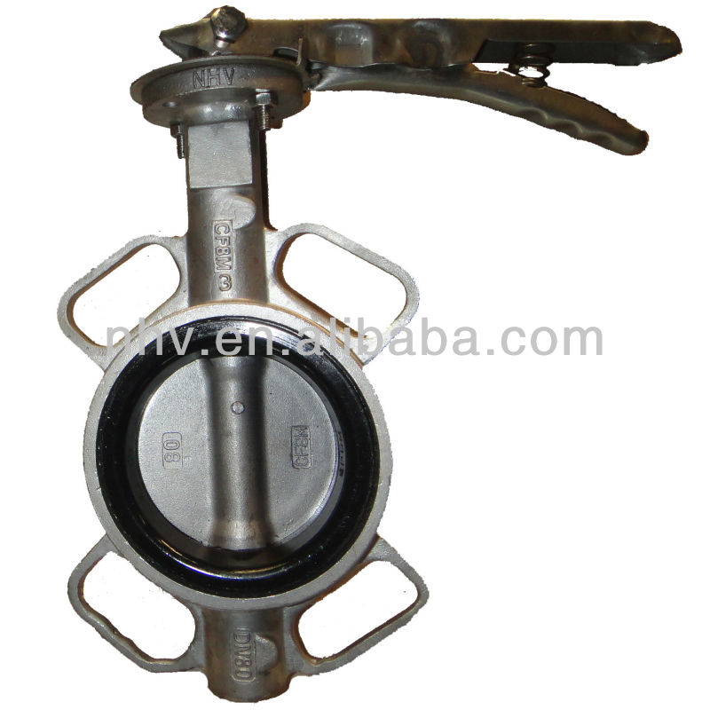 hand lever operated wafer type stainless steel butterfly valve dn80
