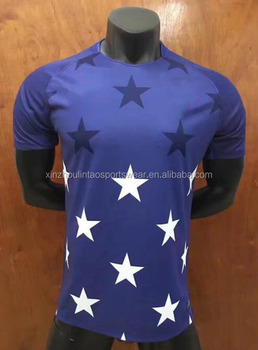 New 2017 18 national soccer jersey blue stars soccer training shirt Thai quality dropship to US Euro