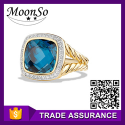 factory price ! MOONSO sapphire zircon gold plated ring copper finger engagement rings for women KR2118