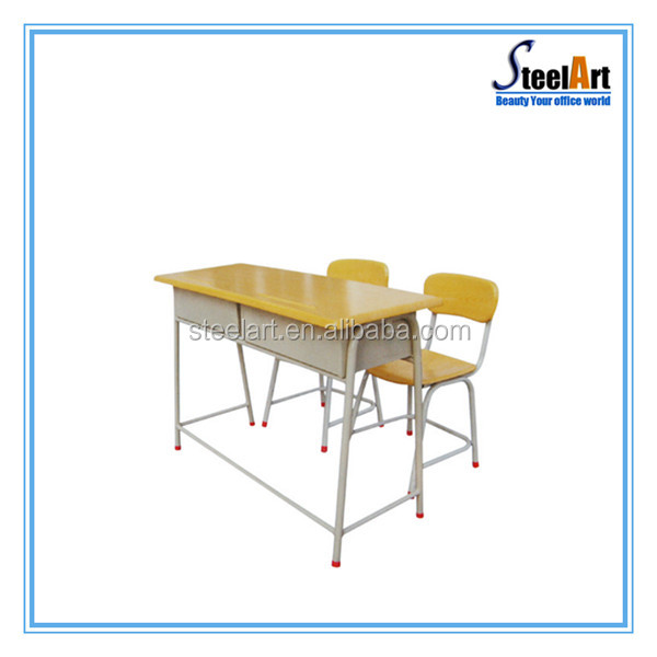 Kids study table with stainless steel table leg and wood desk top