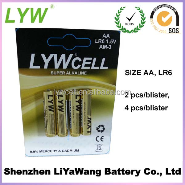 Wholesale ECO-Friendly 1.5V AA LR6 AM3 Alkaline Battery 4pcs/blister backing cards from LYW in stock