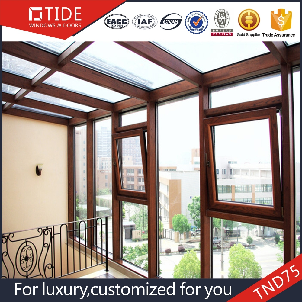 75 series tilt turn Inward opening alu. and wood profile plantation Curtain wall
