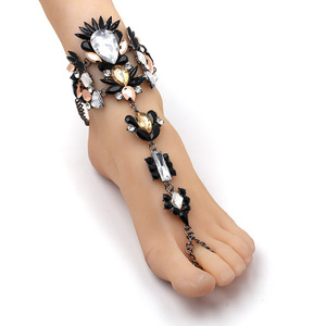 Bohemian Style Crystal Diamond Flower Foot Jewelry for Women Beach Wedding Barefoot Sandals