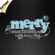 Merry christmas bling rhinestone letters wholesale heat transfers for t shirts