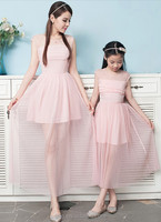 2015 Summer parent-child outfit Dress pink chiffon elegant mother and daughter