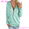 Light Green Deep V Zipper Neck Fashion Cutting Mature Ladies Blouse