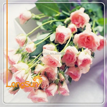 Cheap wedding bouquet real touch flor artificial de seda rosa