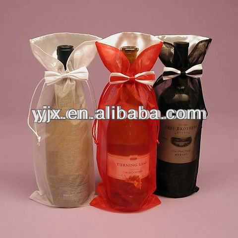 Personalized organza holiday wine bottle gift bags