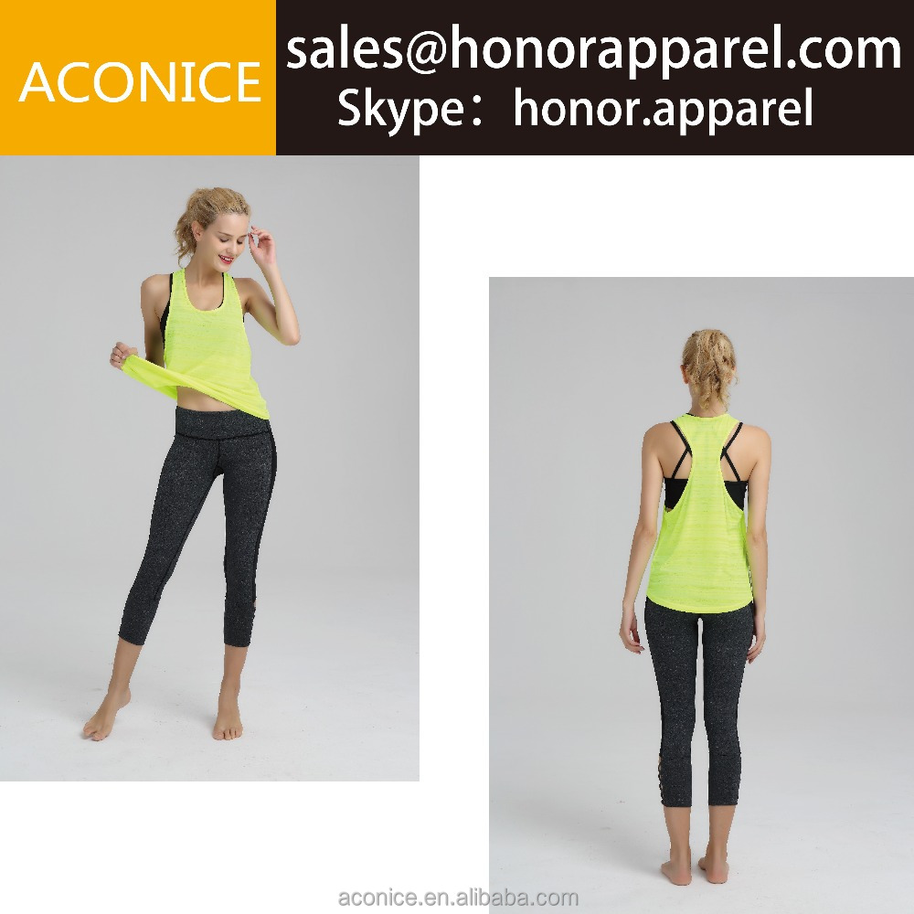 Yellow yoga shirts 100%polyester hot sexy women wholesale high quality quick dry custom design yoga shirt