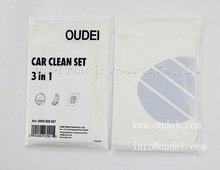 Customized Plastic car care sets 3in1 disposable PE car cleaning kits 5in1
