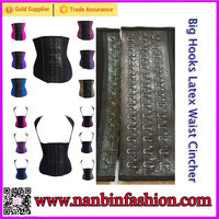 Wholesale colorful thick latex and big hooks steel bones big women corset