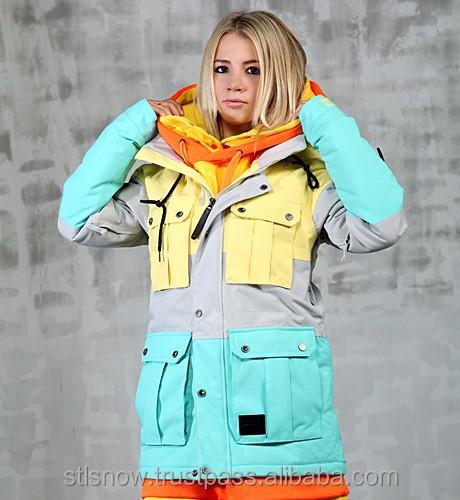 2014/2015 High quality waterproof 20000mm ski & snowboard jacket, Opera L.Yellow/L.Gray/L.Emerald