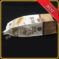 Printed side gusset White kraft paper bag for bakery with printing and custom logo