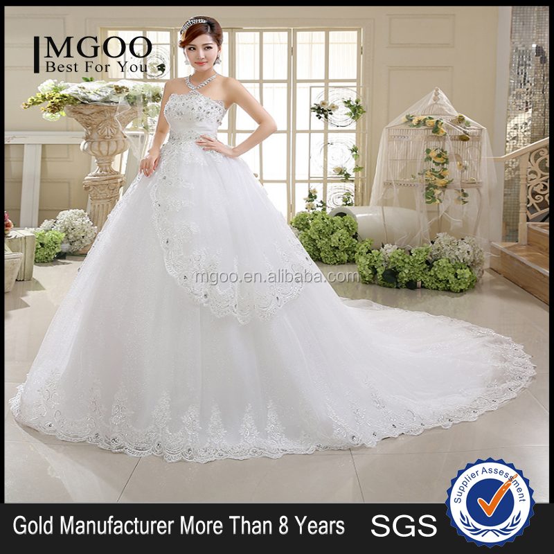 Factory Direct Sales Luxury Lace Wedding Dress Big Tail Diamond Bra Topi Sweet Puff Skirt Sequins Wedding Dress