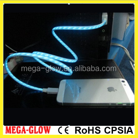 LED EL Flowing light USB cable Visible Flow EL Light USB Charging Sync Cable