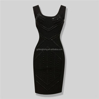 Black Nail Beaded High Quality Rayon Sexy Women Knitted Elastic 2016 New Party Bodycon Bandage Celebrity Night Clubwear Dress