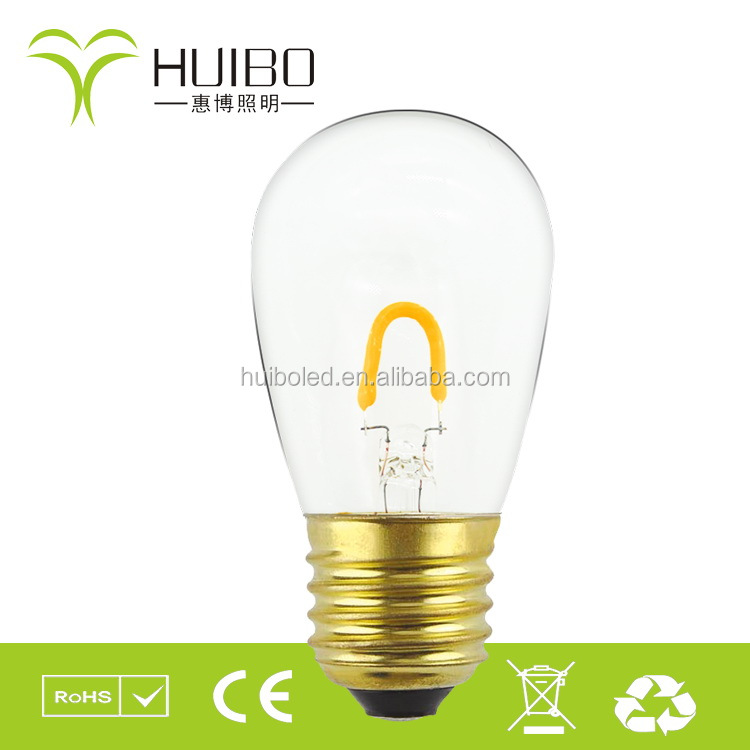 S14 1w new product E26 LED filament bulb,christmas light color bulb,decotative filament light bulbs