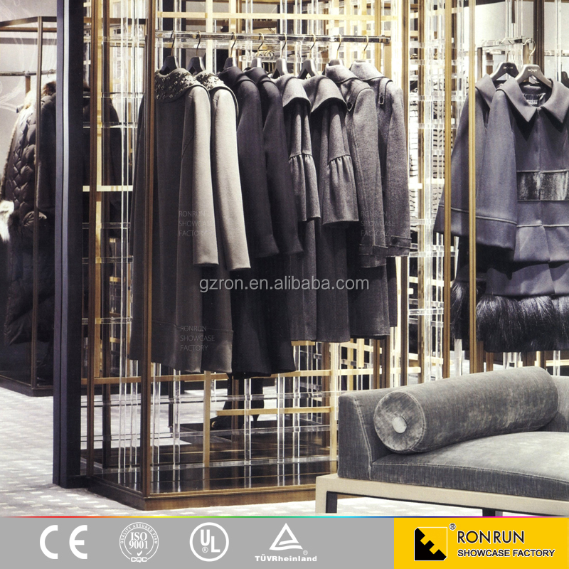 Retail clothes store manufacturing wooden display furniture clothing display showcase for sales