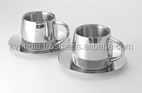2017 glass tea coffee cups with stainless steel handle(