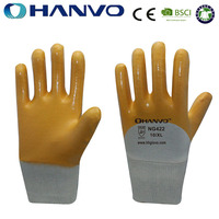 HANVO Light Duty Washable Work Gloves Interlock Liner With Nitrile Industrial Work Gloves