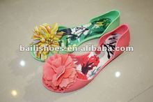 2014 new flower jelly flat sandal;;2014 new style women PVC sandal shoe